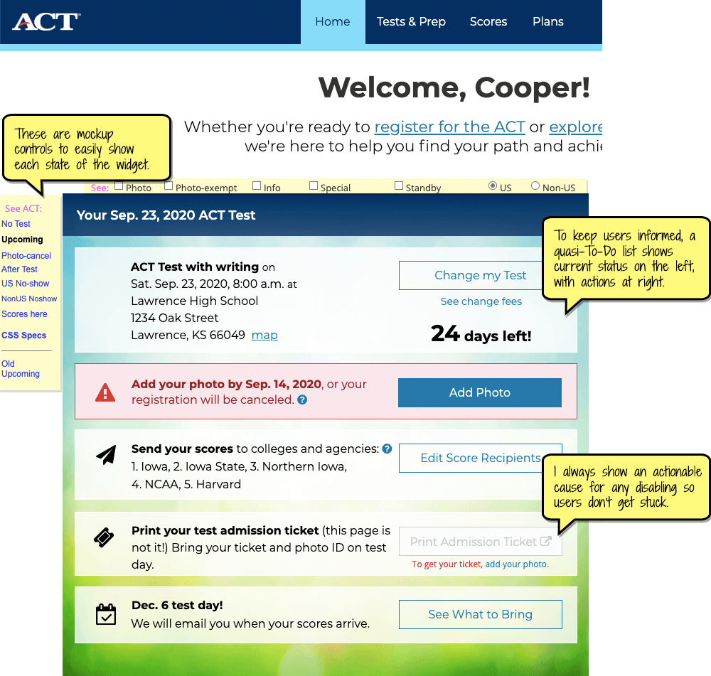 Screenshot of the ACT test widget on the user's dashboard.