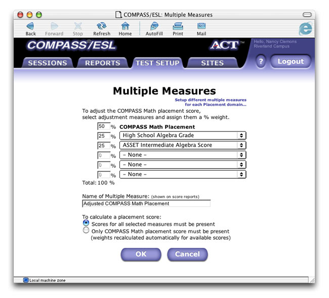 Screenshot of the redesign of ACT's previously confusing Multiple Measures interface.
