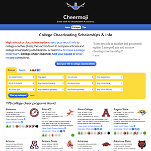 Screenshot of college cheerleading recruiting service