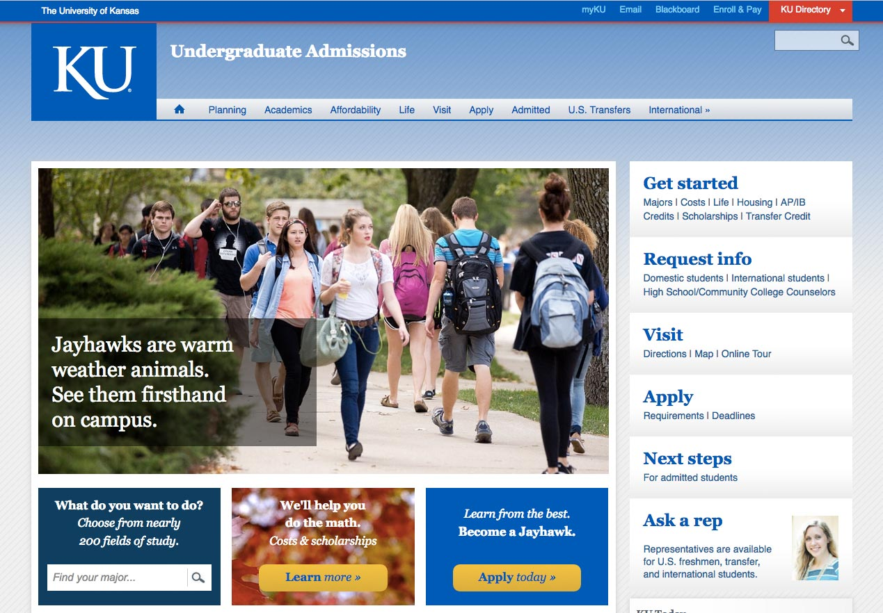 Screenshot of the KU.edu Admission site.