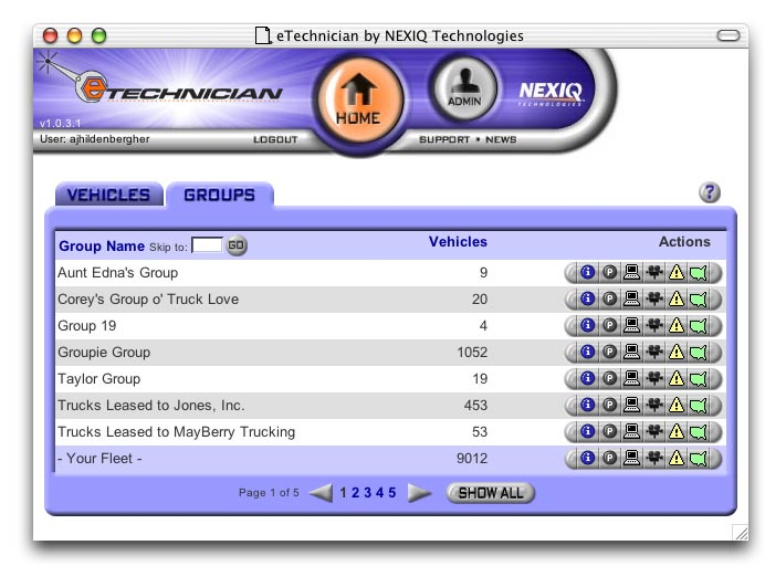 eTechnician Fleet Management web application.