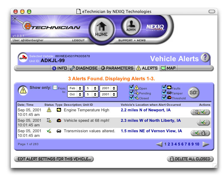 Screenshot of the home page of the eTechnician Fleet Management web app.