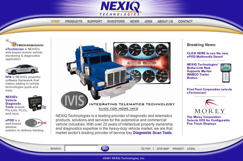 Home page of the NEXIQ Technologies corporate web site.