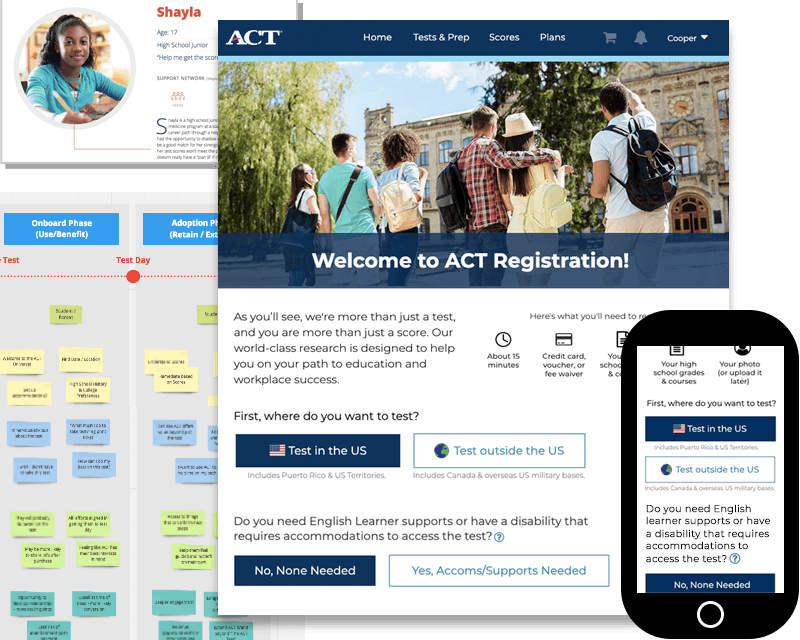 Collage of screenshots and user research tools from the MyACT project.