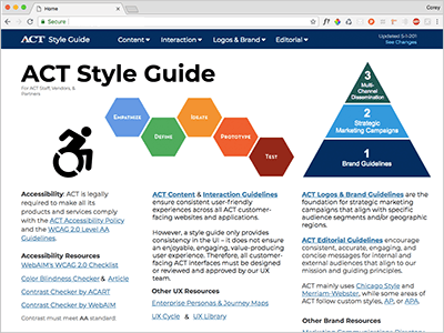 ACT Style Guide screenshot